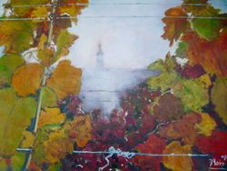 Weinblätter im Herbstnebel 1