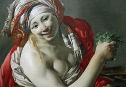 Ter Brugghen, Bacchante with an Ape, detail, Getty