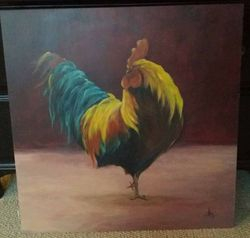Comissioned Rooster Painting, Acrylic