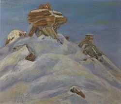 "Winter Hoodoos (12 by 14"" oil on canvas)"