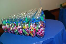 Candy filled bowling pins favors for guests