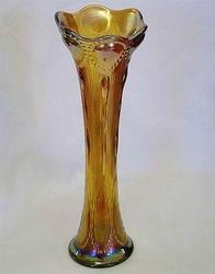 Beaded Bullseye vase, amber
