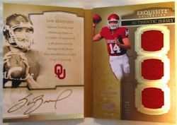 2010 UD Exquisite Auto Biography SAM BRADFORD Booklet Rookie 8/20 Rams Triple! His Jersey #8!
