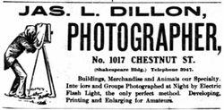 Jas. L. Dillon, photographer of Philadelphia, PA