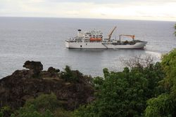 Aranui 3 from shore in Marquesas