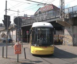 Berlin Flexity no. 9003 under the railway bridge at Hackescher Markt.