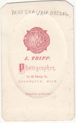 J. Tripp, photographer of Coldwater, MI - back