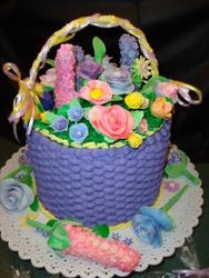 flower basket 50 servings with fondant flowers $200