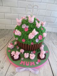 Pig themed Giant Cupcake