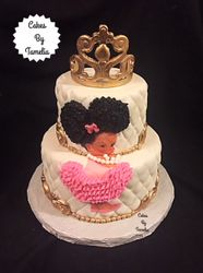 Princess Afro Puff BabyShower Cake