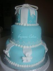 Tiffany and White Wedding Cake(W034)