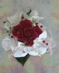 Red Roses, White Orchids with Red Pearls on Wire