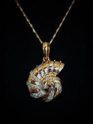 14k Two Tone Diamond Nautilus Pendant
