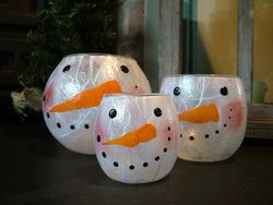 Rosy Snowman Face (5inch Bubble Ball, Large Tealight, Small Tealight)