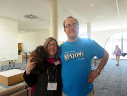 Millard the Buffalo, Cripping the Comic Con Director Diane R. Wiener and Alec Frazier pose together after a successful 2014 convention!