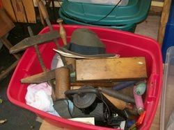 antique, vintage, tools, clamps, planes, lanterns, hats