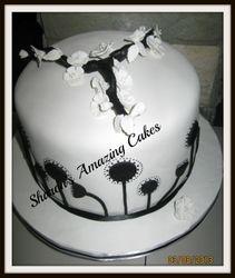 CAKE 50A2 -Black & White Cherry Blossoms Cake