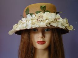 Vintage Tan Straw with White Flowers