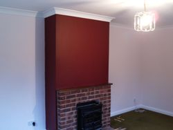 Dark Red chimney breast feature wall
