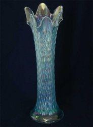 Diamond Point vase in ice blue