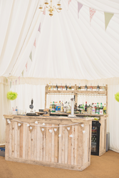 Vintage bar in a beautiful marquee