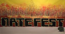 """Nate Fest"" acrylic on 5 x 9 feet canvas, 2015, donated to a benefit show"
