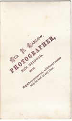 Geo. F. Parlow, photographer of New Bedford, MA - back