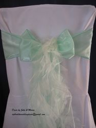 Pastel green with ivory ponytail.