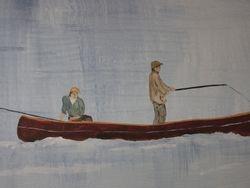 2 guys in a canoe