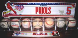2005 and 2008 Opening Day Pujols Locker Plates and Signed Balls