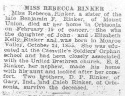 Rinker, Rebecca 1922