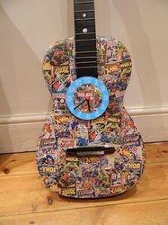 Superhero guitar with clock