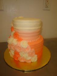 25 servings 2 tier ombre with rosettes $125