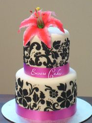 Pink and Black Damask Wedding Cake