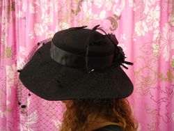 Vintage Classic Wide Brim Black Wool with Netting Back View