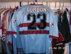 1993/94 away Dale Gordon worn shirt Pony