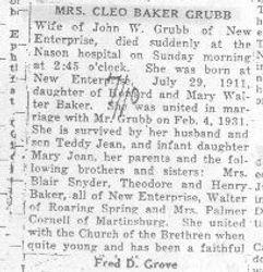 Grubb, Cleo Baker 1938