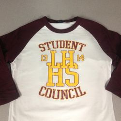 Student Council Raglan Tees with Custom Names and Numbers