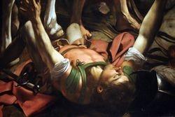 Caravaggio, Conversion of Saul, detail, Cerasi Chapel, St. Maria del Popolo,