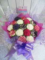 19 cupcake bouquet in pink, purple and white
