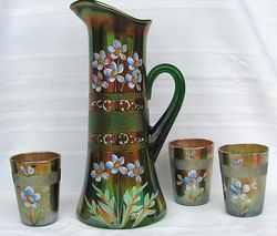 (Enameled) Forget-me-not with prism band, part water set, green