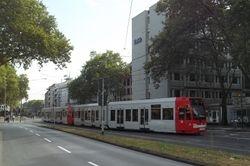 K4000 trams entering Neumarkt from Hahnenstrasse.