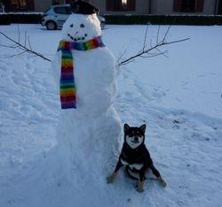 fier bij de sneeuwman
