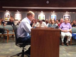 Bob Orndorff testifying in support of moving his mulch business to farms