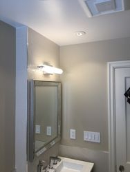 Wider Shot of the Vanity with Ceiling Fan