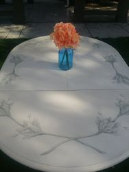 French Country hand painted table with built-in leaf, seats 6