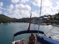 Becky helming out of Marigot Bay