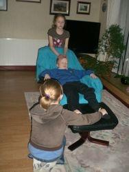 Ellie, Georgina treating a very relaxed James