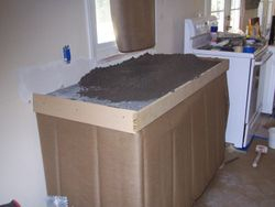 Floating kitchen counter top.