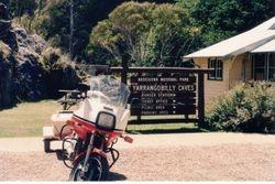 Tom's XJ900 & Trailer at Yarrangobilly Caves - Feb 1994